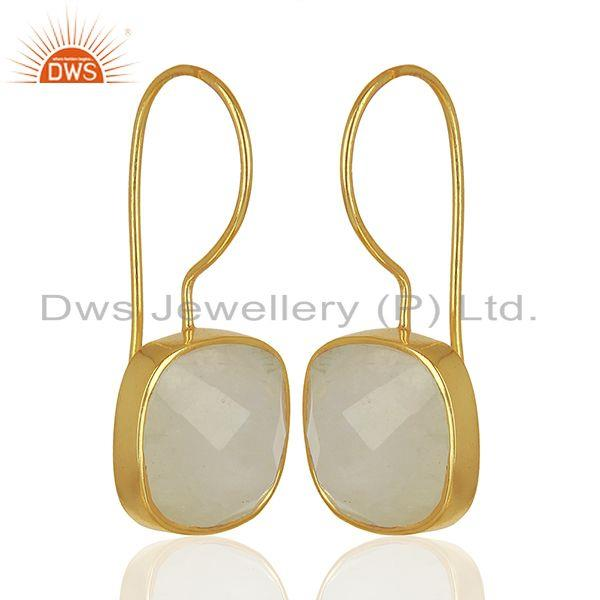 Exporter Handmade Gold Plated 925 Silver Rainbow Moonstone Earrings Supplier