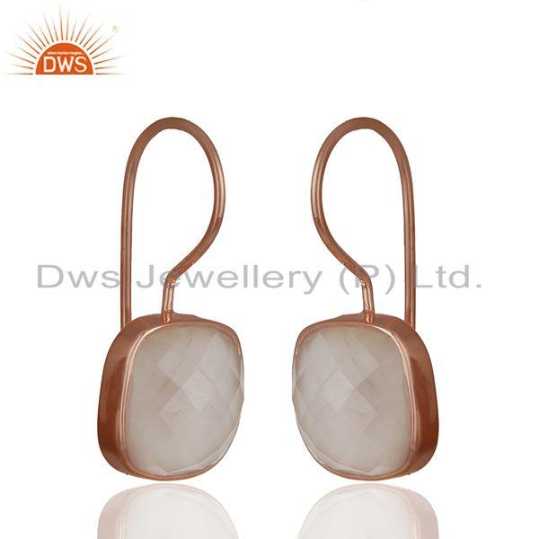 Exporter Rose Quartz Gemstone Rose Gold Plated Drop Earrings Manufacturer