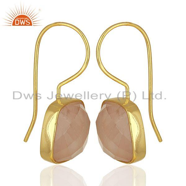 Exporter Rose Quartz Gemstone Yellow Gold Plated 925 Silver Earring Manufacture
