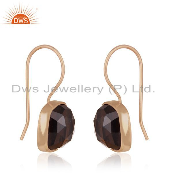 Exporter Rose Gold Plated 925 Silver Smoky Quartz Gemstone Drop Earrings Manufacturers