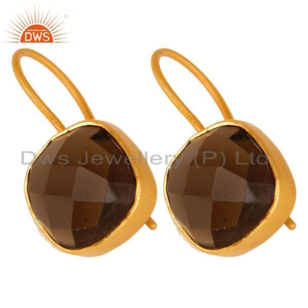 Exporter 14K Yellow Gold Plated Sterling Silver Smoky Quartz Gemstone Dangle Earrings