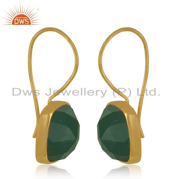 Exporter Green Onyx Gemstone 925 Silver Yellow Gold Plated Drop Earrings Manufacturer