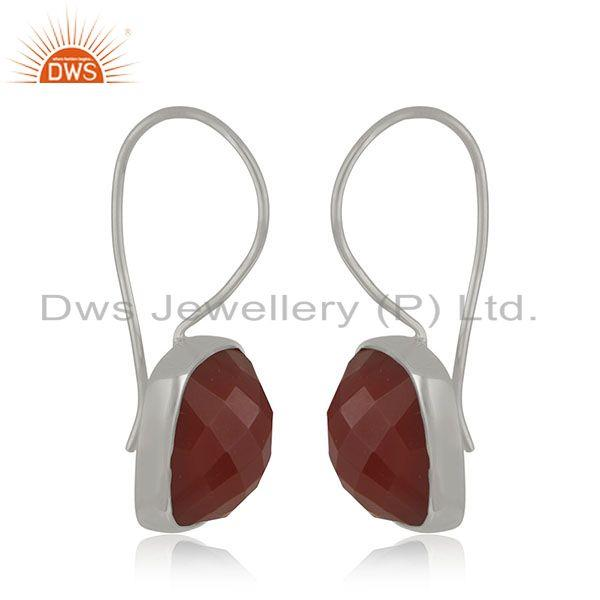Exporter Red Onyx Gemstone 925 Sterling Silver Drop Earring Jewelry Manufacturer India