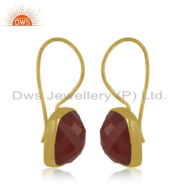 Exporter Red Onyx Gemstone 925 Sterling Silver Gold Plated Drop Earrings Manufacturer
