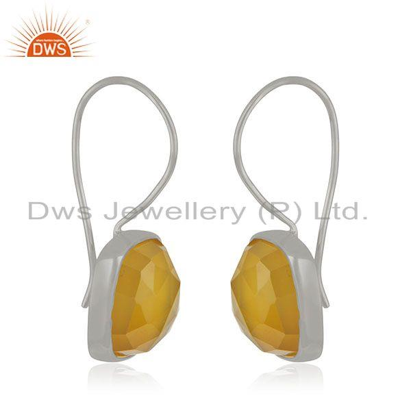 Exporter Handmade 925 Sterling Silver Yellow Chalcedony Gemstone Girls Earrings Wholesale