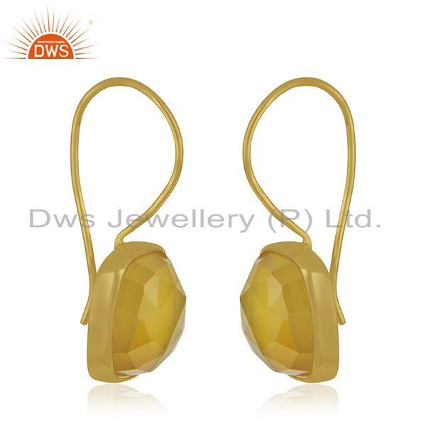 Exporter Handmade Gold Plated 925 Silver Yellow Chalcedony Gemstone Drop Earring Supplier