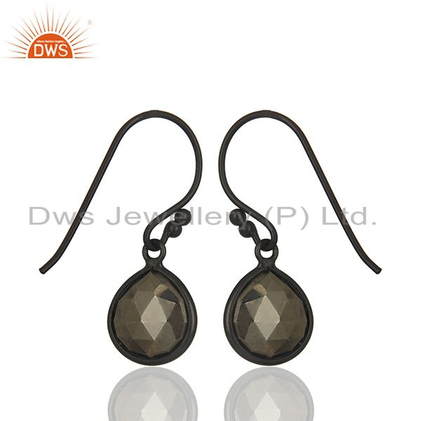 Exporter Natural Hematite Gemstone Oxidized Sterling Silver Teardrop Earrings