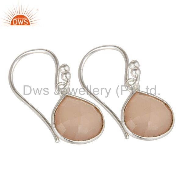 Exporter Solid 925 Sterling Silver Faceted Chalcedony Bezel Set Dangle Earrings