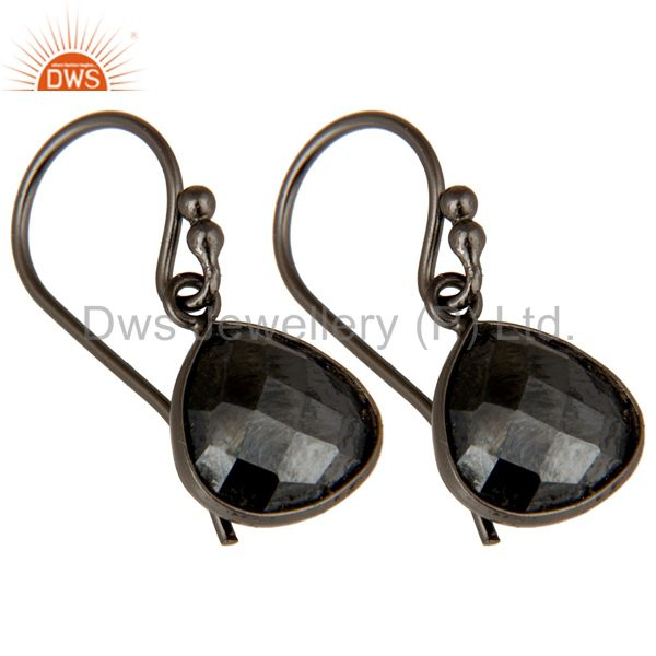 Wholesalers Natural Hematite Gemstone Oxidized Sterling Silver Teardrop Earrings