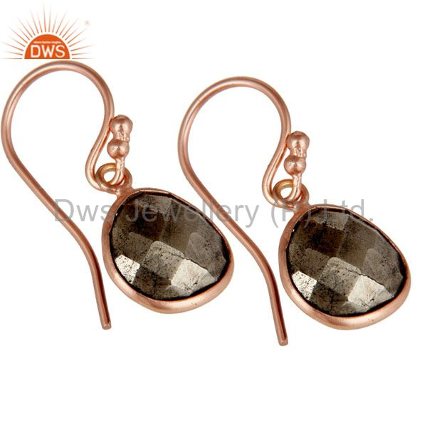 Exporter 18K Rose Gold Plated Sterling Silver Faceted Pyrite Bezel Set Dangle Earrings