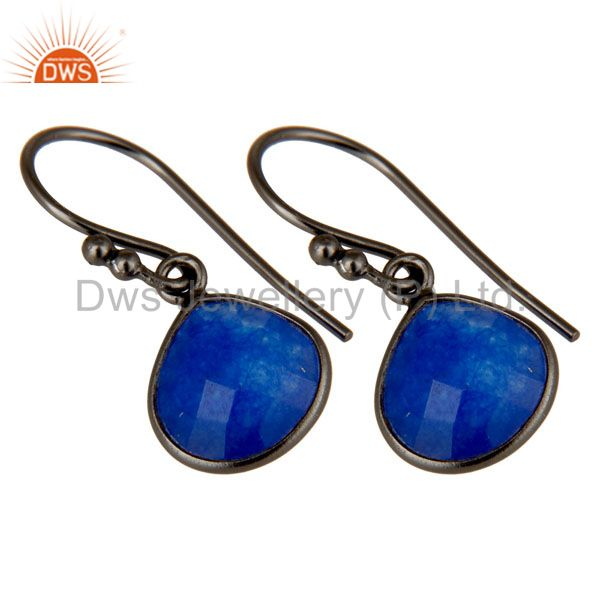 Exporter Oxidized Sterling Silver Faceted Blue Aventurine Bezel Set Dangle Earrings