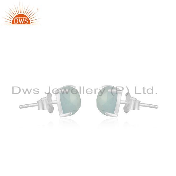 Exporter Aqua Chalcedony Prong Set 925 Sterling Silver Mini Earrings Jewelry
