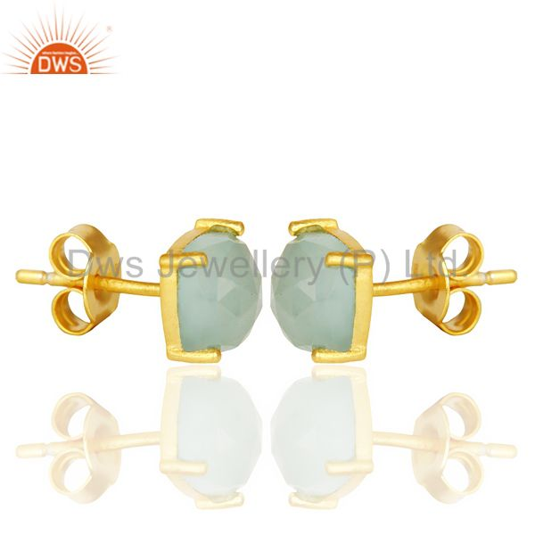 Exporter 14K Yellow Gold Plated 925 Sterling Silver Aqua Chalcedony Stud Earrings