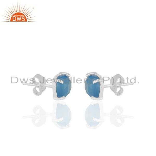 Exporter Prong Set Blue Chalcedony Gemstone 925 Silver Stud Earrings Manufacturer