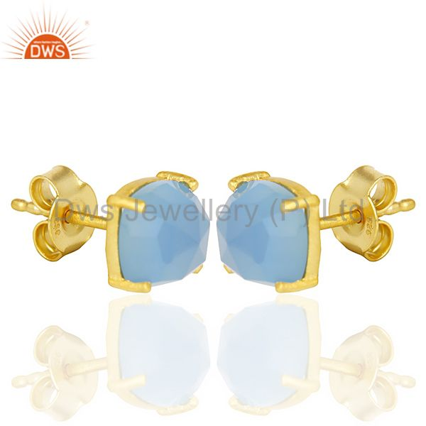 Exporter 14k Yellow Gold Plated 925 Sterling Silver Blue Chalcedony Gemstone Earring