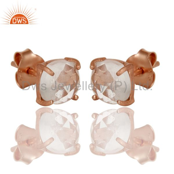 Exporter 18K Rose Gold Plated Sterling Silver Cushion Cut Crystal Prong Set Stud Earrings