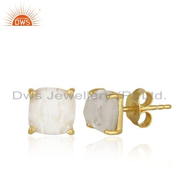 Exporter Crystal Quartz Prong Setting Gemstone Gold Plated Silver Stud Earrings