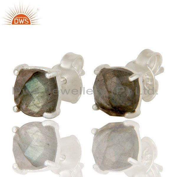Exporter 925 Sterling Silver Labradorite Prong Set Gemstone Stud Earrings For Her