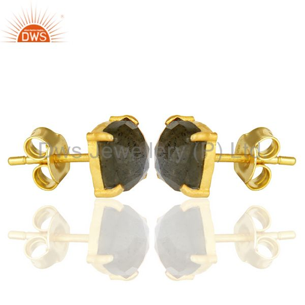 Exporter 14k Yellow Gold Plated 925 Sterling Silver Labradorite Earring Jewelry