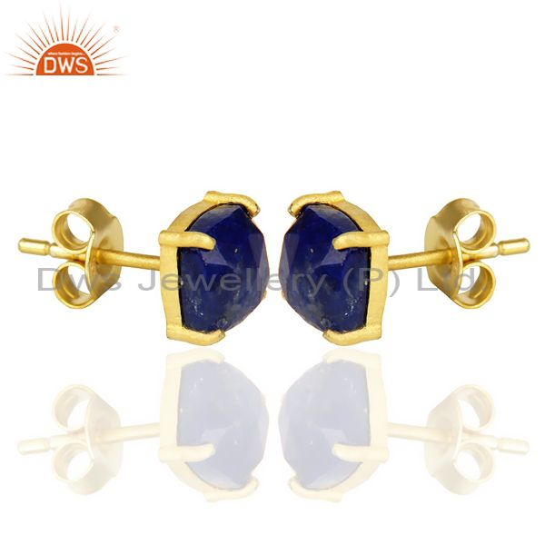 Exporter 14k Yellow Gold Plated 925 Sterling Silver Lapis Lazuli Stud Earring Jewelry