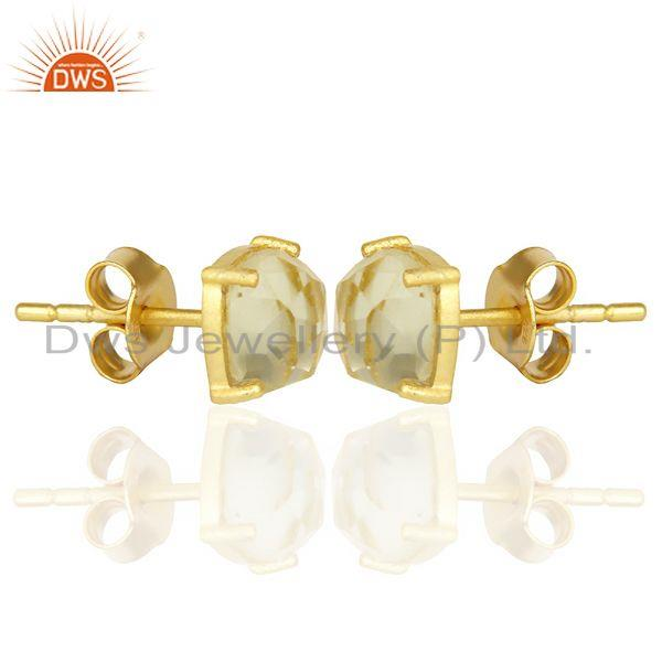 Exporter 14k Yellow Gold Plated 925 Sterling Silver Lemon Topaz Stud Earring Jewelry