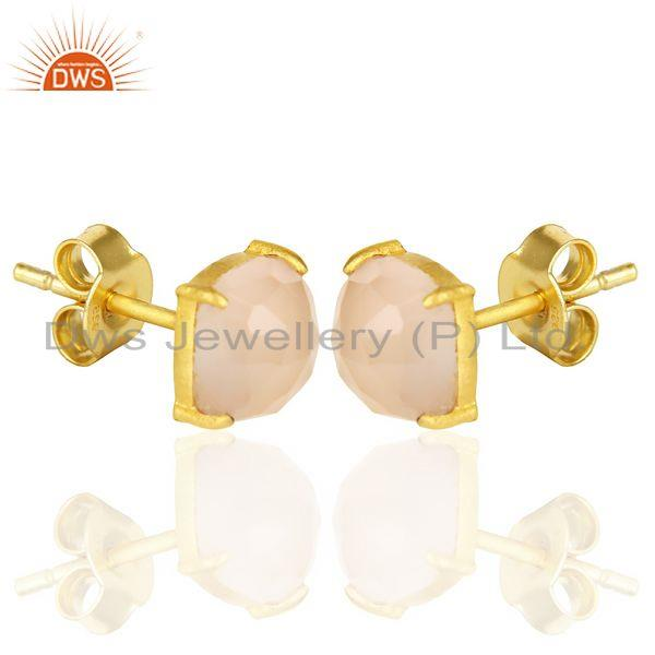 Exporter 18k Gold Plated Sterling Silver Cushion Cut Chalcedony Prong Set Stud Earrings