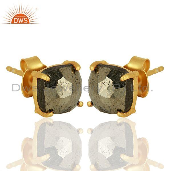 Exporter Gold Plated Pyrite Gemstone Stud Earrings Jewelry Wholesale Supplier