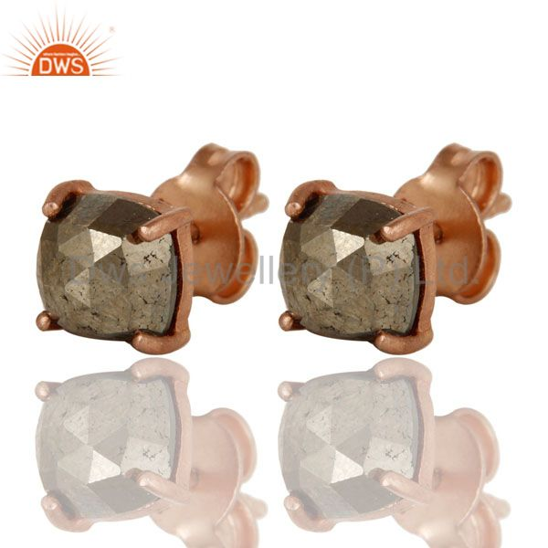 Exporter 18K Rose Gold Plated Sterling Silver Pyrite Gemstone Prong Set Stud Earrings