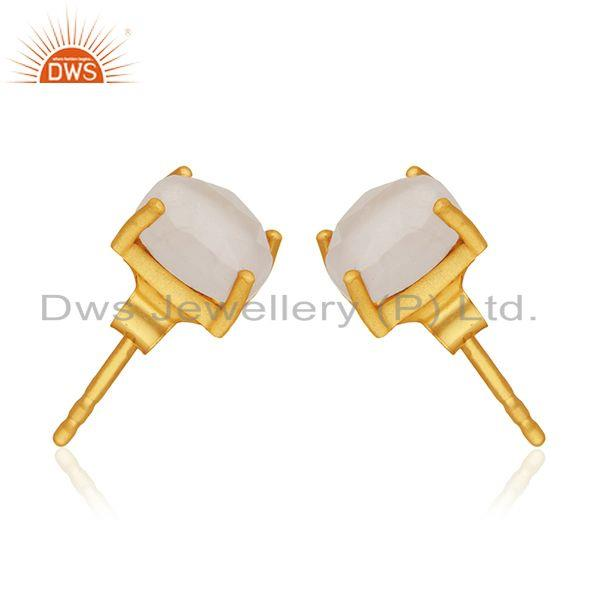 Exporter Rose Quartz Gold Plated 925 Silver Rose Quartz Gemstone Stud Earring Wholesale
