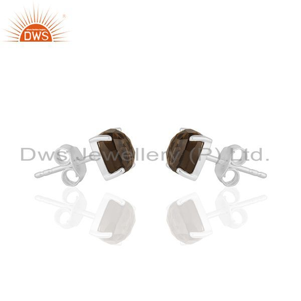 Exporter Smoky Quartz Gemstone Fine Sterling Silver Handmade Stud Earrings Manufacturer