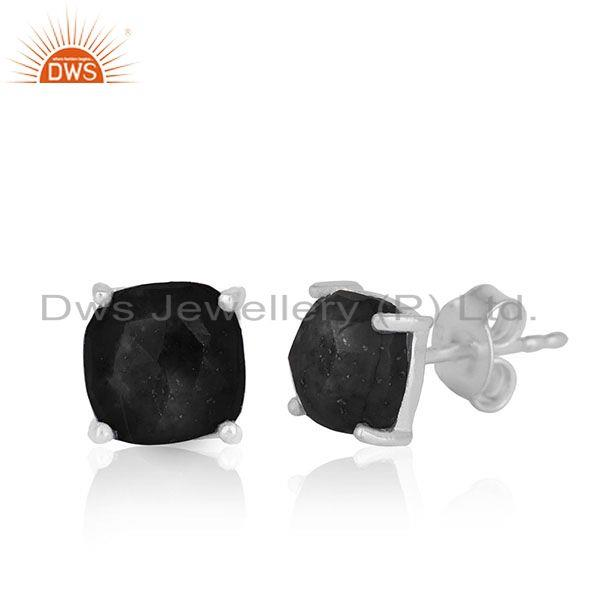 Exporter Prong Setting Black Onyx Gemstone 925 Silver STUD Earrings Jewelry MANUFACTURER