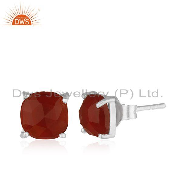 Exporter Handmade Prong Set Red Onyx Gemstone 925 Silver Girls Stud Earring Wholesale