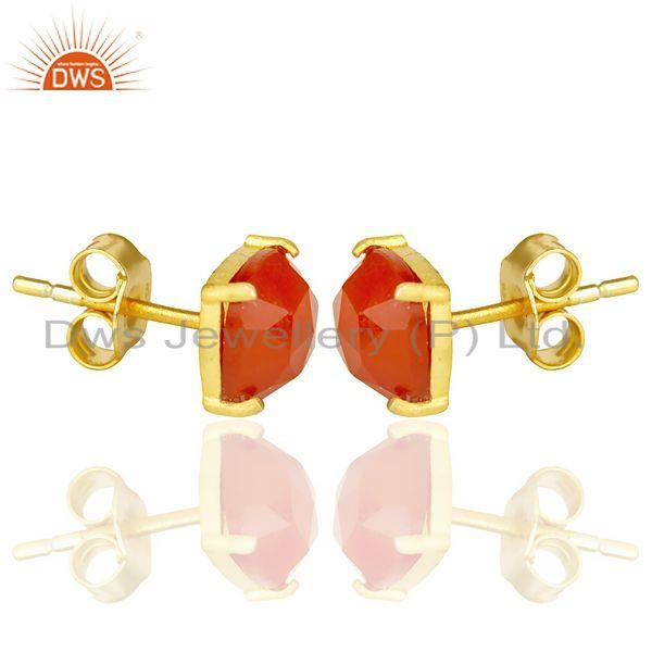 Exporter Red Onyx Rose Cut Stud Earring With 14K Gold Over Sterling Silver