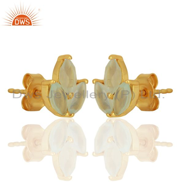 Exporter Dyed Aqua Chalcedony Leaf Finn 925 Sterling Silver 18K Gold Plated Stud Earrings