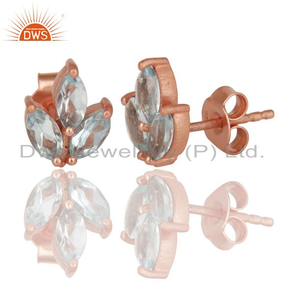 Exporter 14K Rose Gold Plated 925 Sterling Silver Prong Set Blue Topaz Studs Earrings