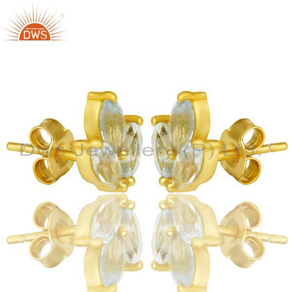 Exporter Natural Blue Topaz Tiny Flower Stud Earring In 14 K Gold Plated Sterling Silver