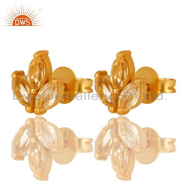 Exporter 18K Yellow Gold Plated Sterling Silver Citrine Prong Set Gemstone Stud Earrings