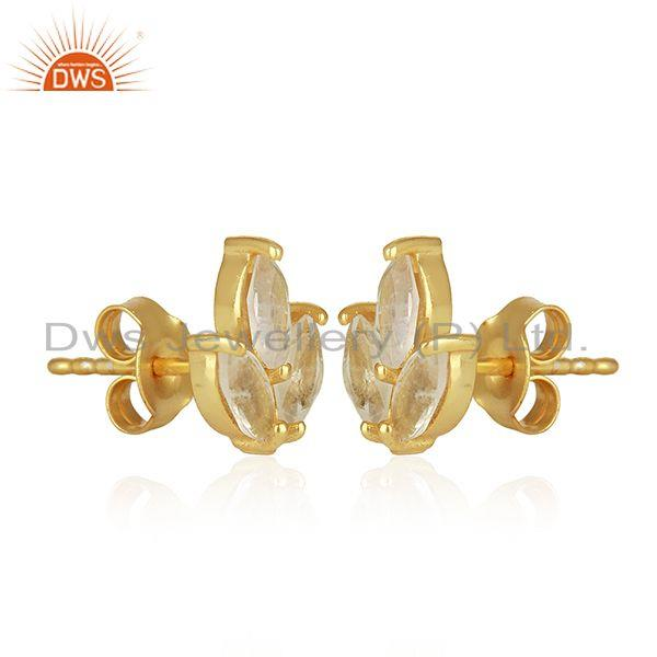Exporter Crystal Quartz 925 Sterling Silver Gold Plated Stud Earrings Wholesale Suppliers