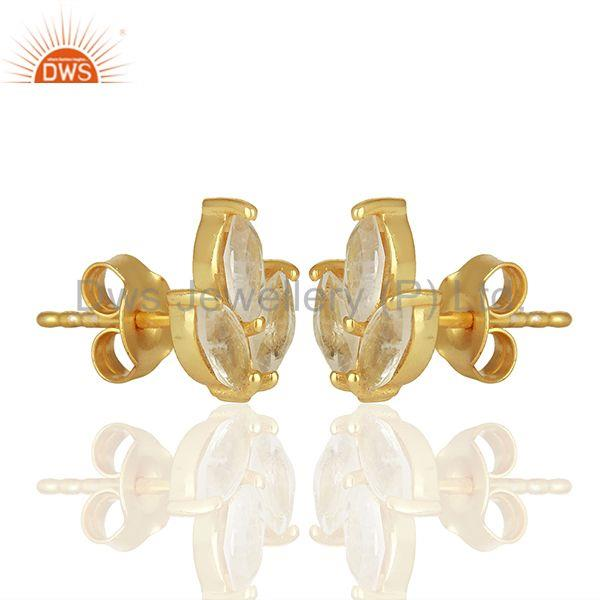 Exporter Handmade Gold Plated 925 Silver Rainbow Moonstone Stud Earring Jewelry
