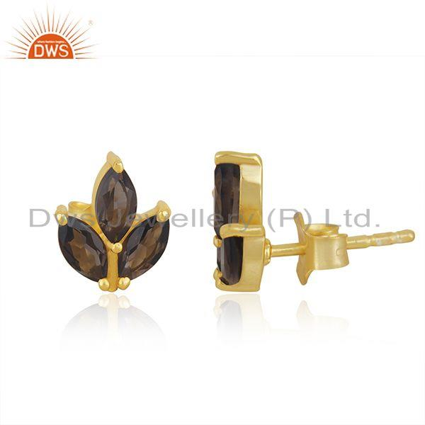 Exporter Smoky Topaz Tiny Flower Stud Earring In 14 K Gold Plated Sterling Silver