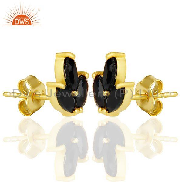 Exporter Black Onyx Tiny Flower Stud Earring In 14 K Gold Plated Sterling Silver