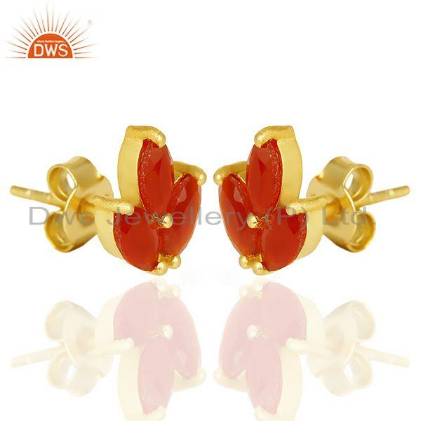 Exporter Red Onyx Stud 18K Yellow Gold Plated 925 Sterling Silver Earrings Jewelry