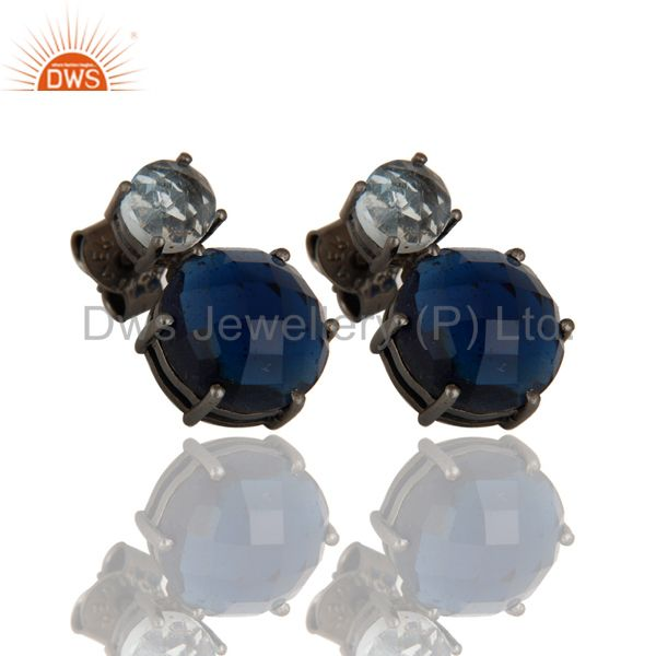Exporter Black Oxidized 925 Sterling Silver Blue Topaz & Blue Sapphire Post Stud Earrings