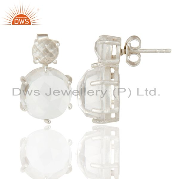 Exporter Crystal Quartz Stud Sterling Silver Prong Set Earrings Gemstone Jewelry