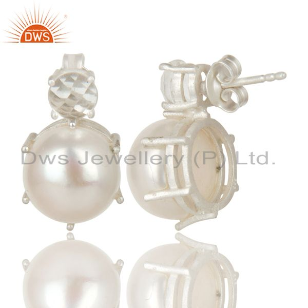 Exporter Handmade Solid 925 Sterling Silver Crystal Quartz & Pearl Beads Studs Earrings