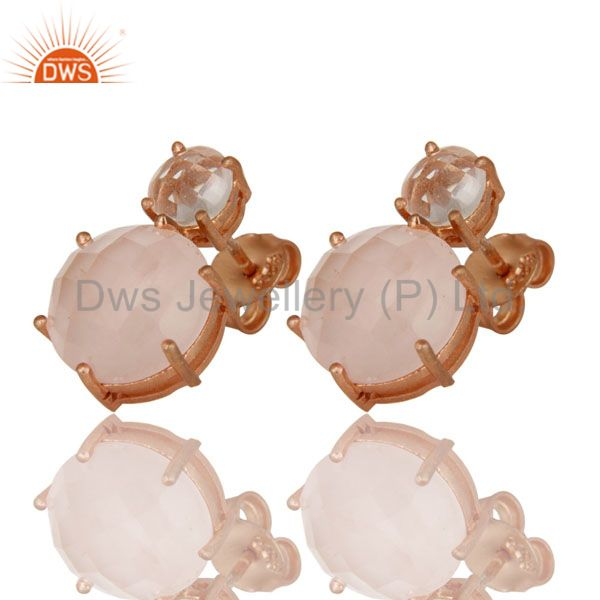 Exporter 18K Rose Gold Plated Sterling Silver Crystal Quartz And Rose Quartz Stud Earring