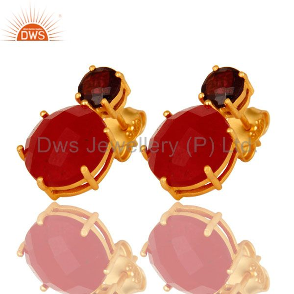 Exporter 18K Gold Plated Sterling Silver Prong Set Garnet And Red Aventurine Stud Earring