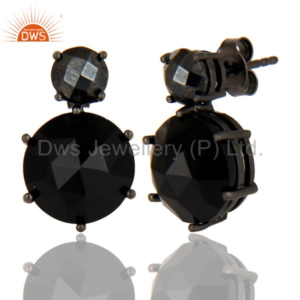 Suppliers Black Oxidized Sterling Silver Black Onyx & Hematite Prong Set Studs Earrings