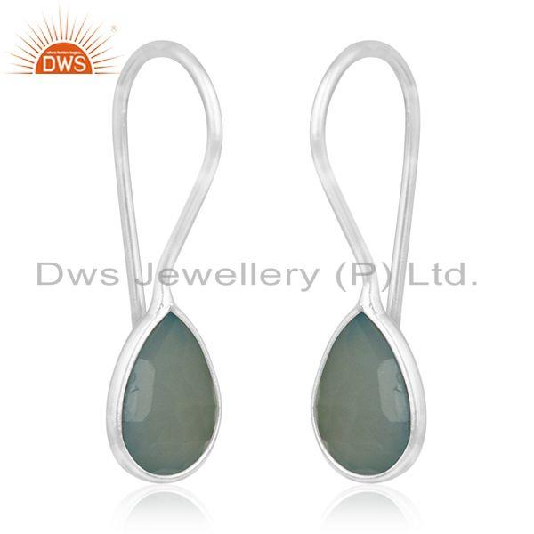 Exporter Aqua Chalcedony Gemstone 925 Sterling Silver Dangle Earrings Manufacturers India