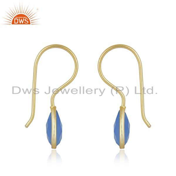 Manufacturer of Blue Chalcedony 7x10 Pear Bezel Set Drop Gold Plated 92.5 Sterling Silver Earrin